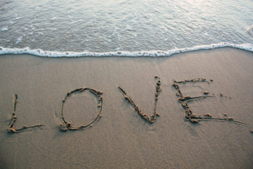Love on beach sand